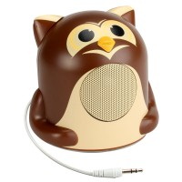 Character Mood Light Speaker w/ Glowing LED Base & 3.5mm Jack - Owl
