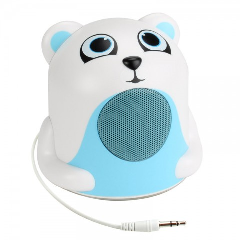 Character Mood Light Speaker w/ Glowing LED Base & 3.5mm Jack - Polar Bear