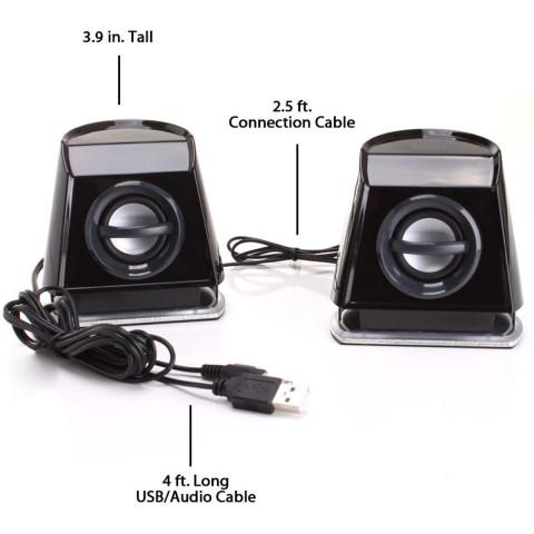 BassPULSE 2MX USB Powered 2.0 Computer Speakers - Blue