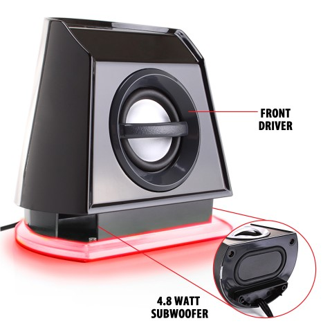 BassPULSE 2MX USB Powered 2.0 Computer Speakers - Red