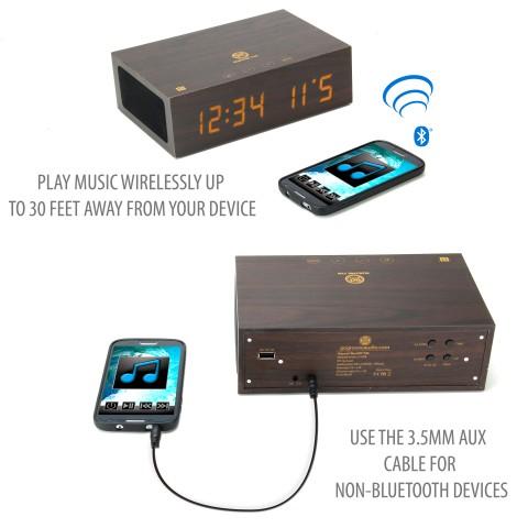 BlueSYNC TYM Real Wood Bluetooth Speaker & Alarm Clock with NFC Pairing - Dark