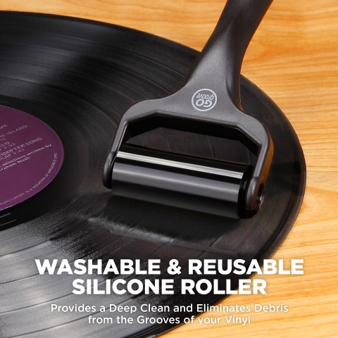 GOgroove Vinyl Record Player 6-in-1 Cleaning Kit with Deep Cleaning Velvet Brush , Silicone Roller , Stylus Brush Cleaner , Repair Whisk , Microfiber Cleaning Cloth and Drawstring Storage Travel Pouch