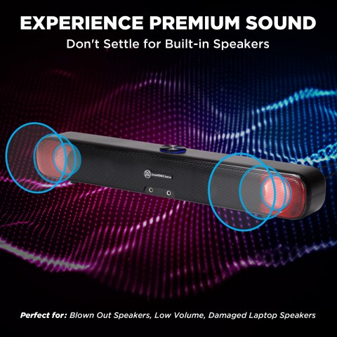 GOgroove SonaVERSE SENSE USB Powered LED Sound Bar Computer Speaker for Desktops and Laptops