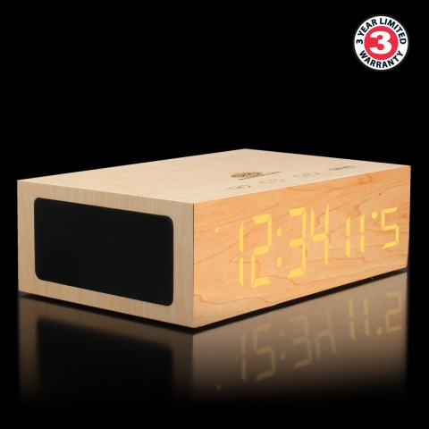 BlueSYNC TYM Real Wood Bluetooth Speaker & Alarm Clock - Light