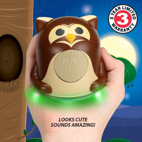 Character Mood Light Speaker w/ Glowing LED Base & 3.5mm Jack - Owl